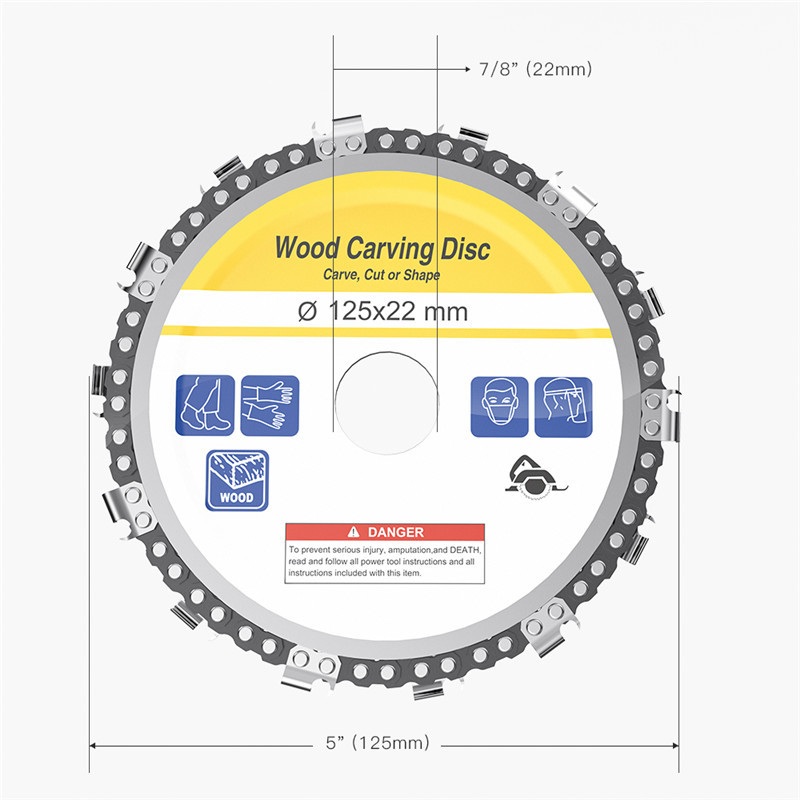 5 Inch 14 Teeth Grinder Chain Disc 22mm Arbor Woodworking Carving Disc For 125mm Angle Grinder And Circular Saw
