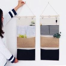 Brinquedos Decoração Da parede Pendurado Organizador Tecido de Linho Bolso Pouch Pano Diversos Container Economizar Espaço Verde de Armazenamento de Suprimentos Casa