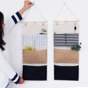 Wall Hanging Linen Fabric Organizer Toys Decor Pocket Pouch Cloth Sundries Container Save Space Green Home Storage Supplies