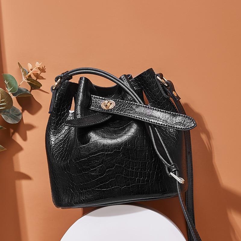 2019 nova mulheres balde couro do couro bolsa mulheres bolsas de ombro negro cor corssboy sacos do mensageiro para as mulheres - 6