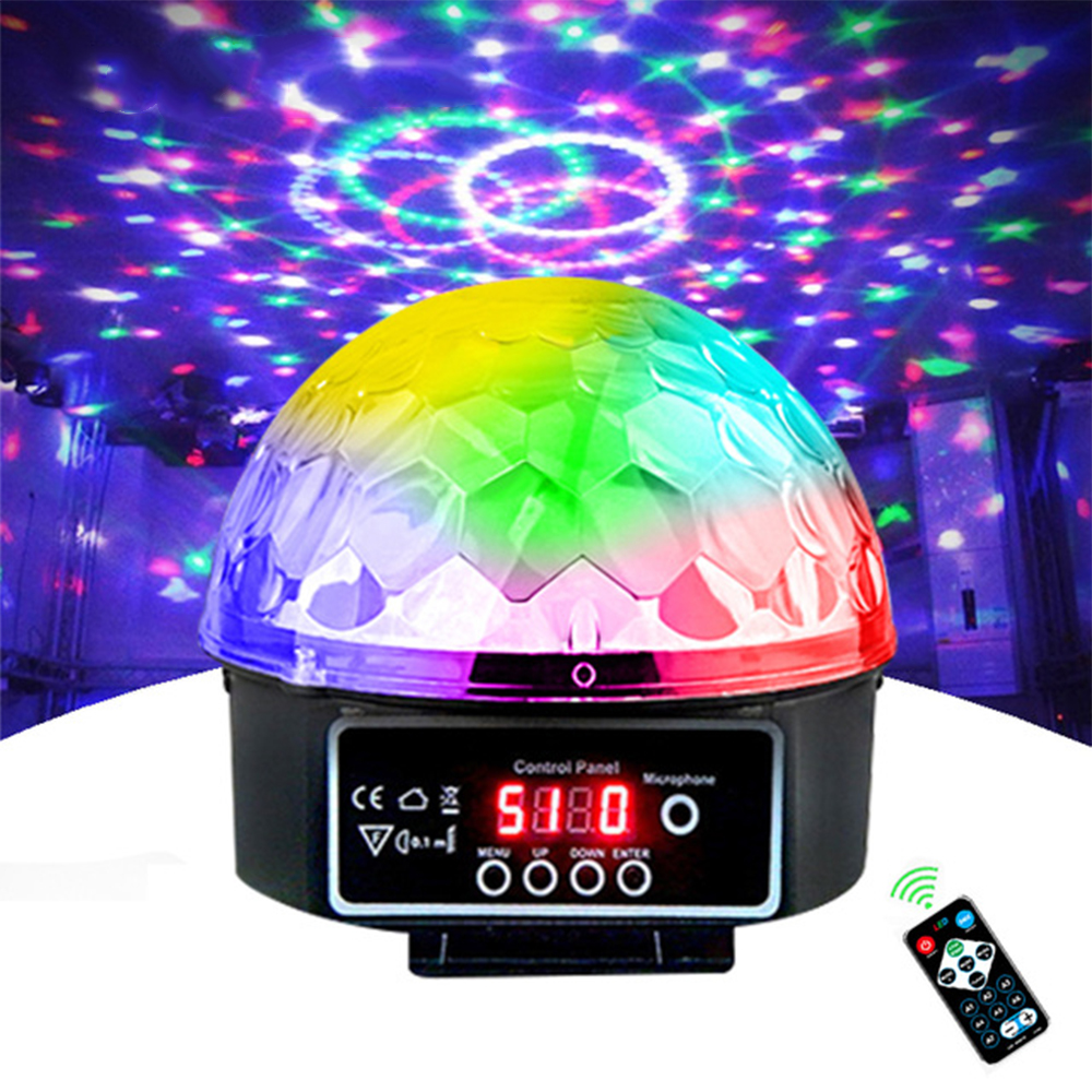 Stage Lamp Led Disco Ball Light Laser 9 Colors  27W 21 Modes DMX DJ Sound Party Light Projector Soundlights Crystal Magic Ball