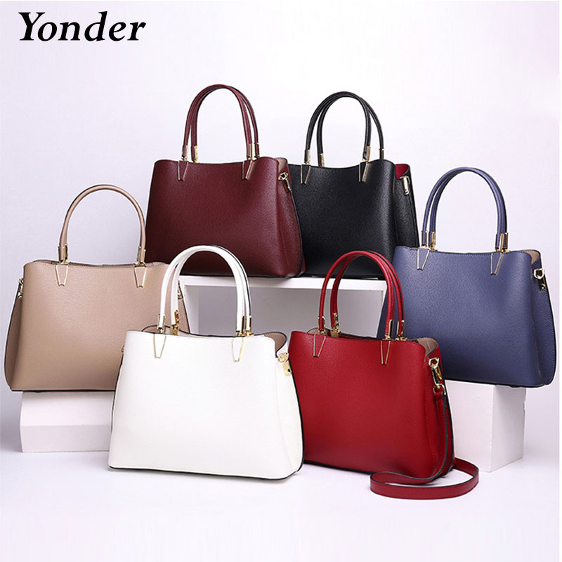 Yonder Women Shoulder Bag Made Of Genuine Leather Classic White Tote Handbag High Quality Charm Lady Crossbody Bags Black