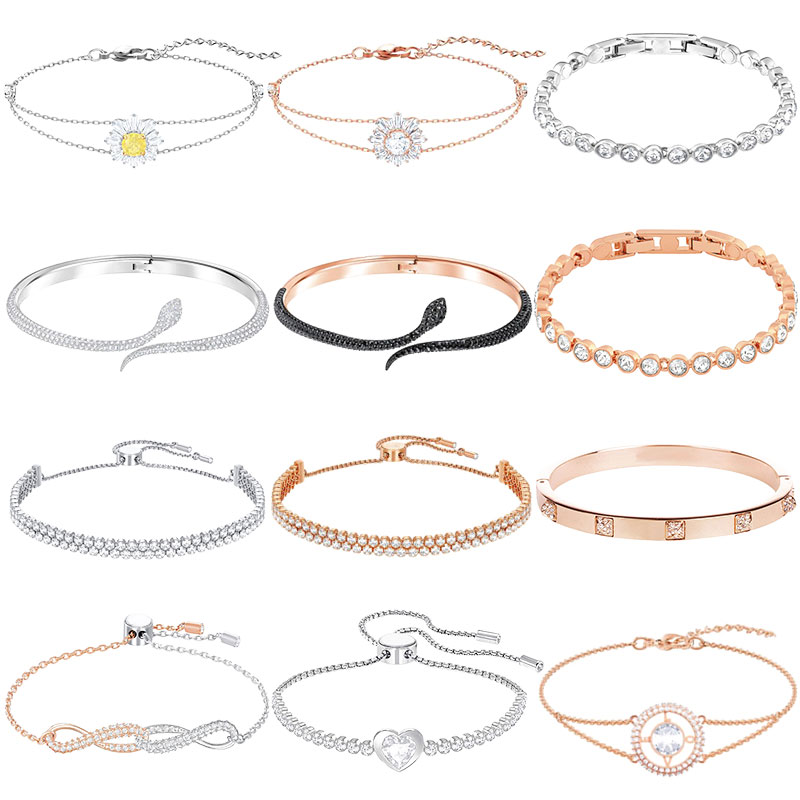 High-quality Swa original mixed series fashion brand Sun flower snake bracelet jewelry jewelry suitable for party.