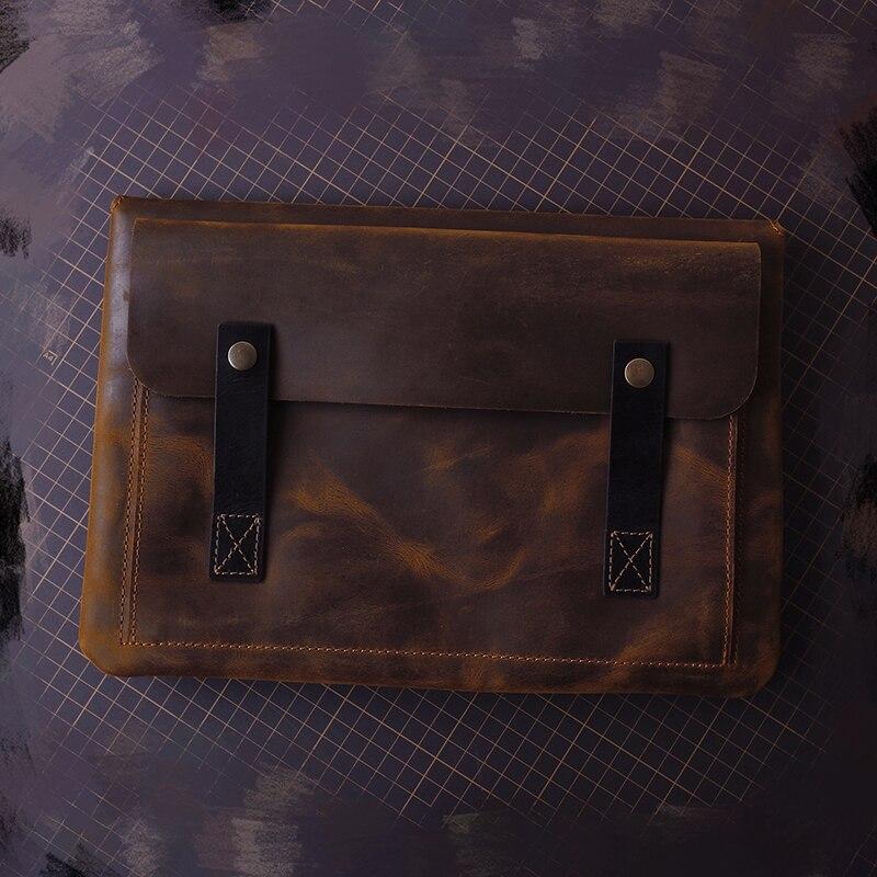 New Design Vintage Handmade Genuine Leather Large Capacity Business Bag Fashion Men's Bag Leather Laptop Bag For Mac12
