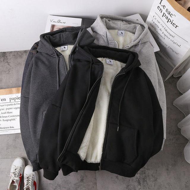 Jacket women solid color hoodies 2020 autumn winter imitation lamb wool korean loose plus velvet thick zipper sweatshirt tops 3