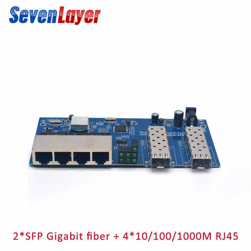 Fibra Ottica Media Converter 4 RJ45 2 SFP Gigabit switch Ethernet 10/100/1000M UTP Porta in fibra bordo PCBA