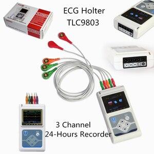 TLC9803 динамический ЭКГ машина портативный 3 свинцовый электрокардиограф ручной ЭКГ монитор 24 часа HR анализатор рекордер система CFDA