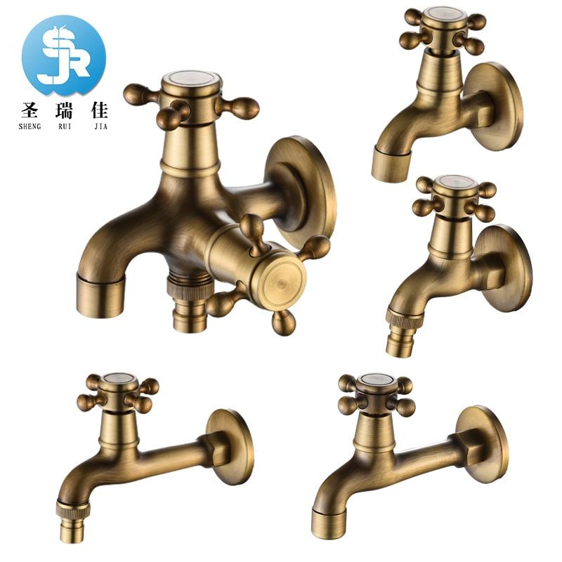 Shengruijia Vintage Washing Machine Faucet European Style Retro Single Cold Copper Faucet Mop Pool Lengthen Leading