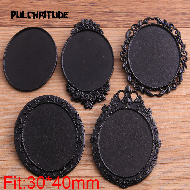 PULCHRITUDE 2pcs 30*40mm Inner Size 2020 New Product Black Oval Big Brooch 5 Style Cabochon Base Setting Charms Pendant