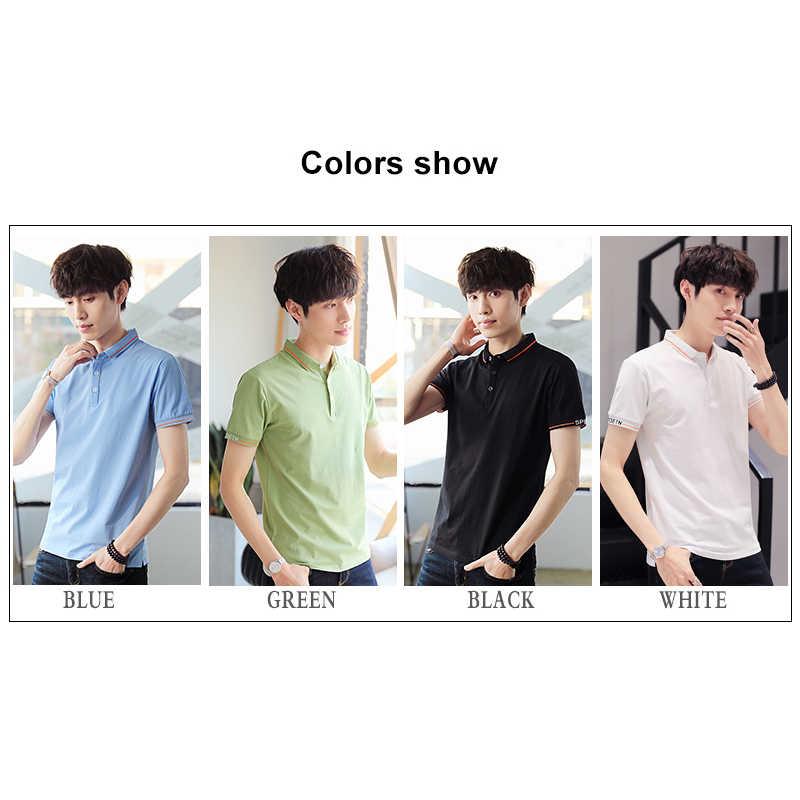 BROWON 2020 letnia nowa męska koszulka z krótkim rękawkiem Polo mężczyźni dorywczo jednolity kolor skręcić w dół kołnierz Slim Men dzianinowa koszulka Polo