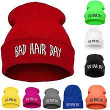 Esporte moda Inverno Quente Chapéus Bad Hair Day Gorros Carta Cap Hip Hop Das Mulheres Dos Homens do Chapéu do Beanie Malha Chapéus Gorro para Unisex
