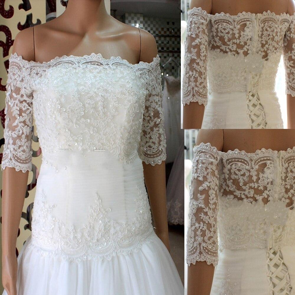Lace Wedding Bolero Off Shoulder Half Sleeve Bridal Coat Jacket Shrug New Bride Jackets