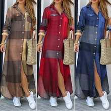 ZANZEA-Vestido camisero elegante para mujer, vestido Vintage de manga larga, informal, bata a cuadros, largo de talla grande 5XL, 2021
