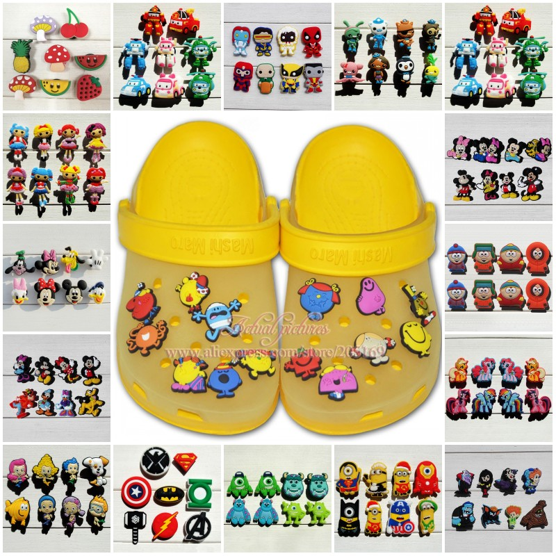 7-10PCS/lot Avengers Mickey Bubble Guppies Unicorn PVC Shoe Charms Shoe Buckles Accessories Fit Bracelets Croc JIBZ Xmas Gift