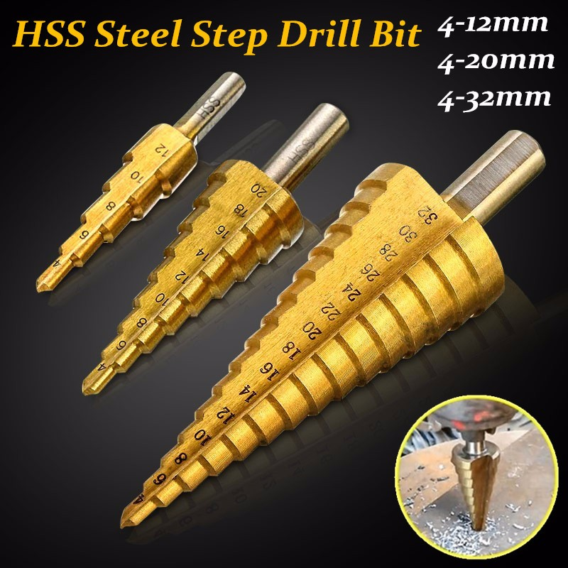 4-12/20/32mm HSS Drill Bit Steel Step Cone Titanium Coated Set Hole Cutter Taper Metric Cone Drill Mini Drill Accessories