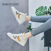 ROBESPIERE Women Sneakers Comfortable Genuine Leather Shoes 2019 New Vulcanize Flats Casual Lace-up Ladies Trainers Footwear A97 wetkiss new design cow leather women s sneakers fashion ladies flats lace up casual shoes female walkable footwear
