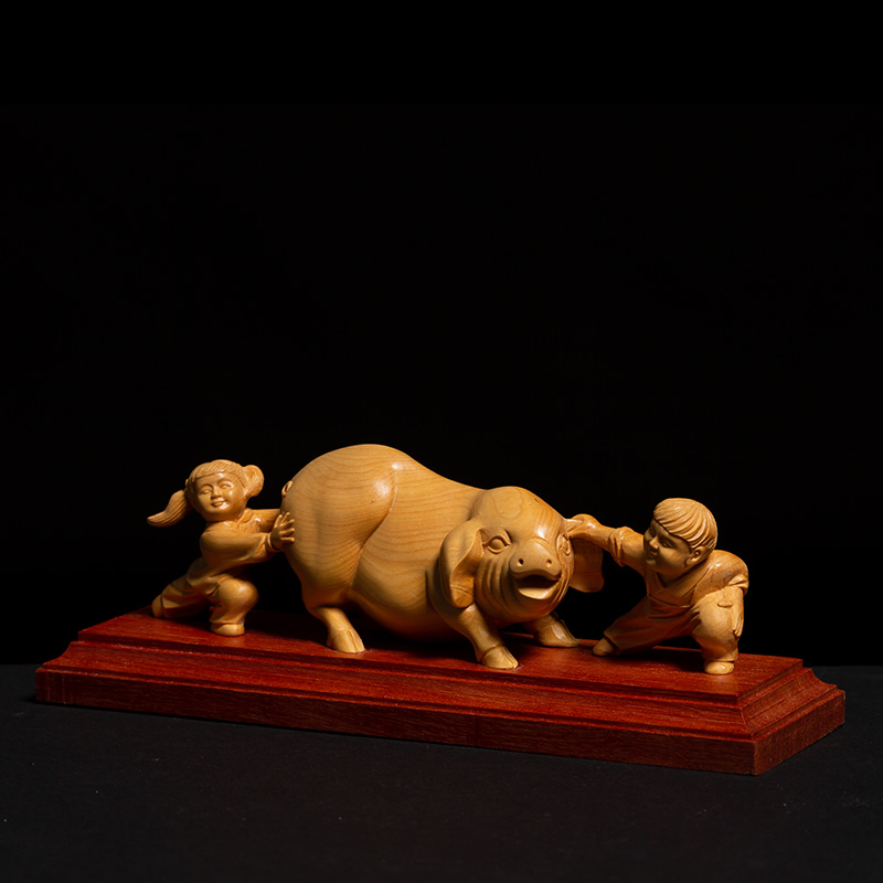 Chinese Country Style Two Children Playing with Pig Animal Sculpture Gothic Boxwood Miniature Creative Feng Shui Ornaments - 2
