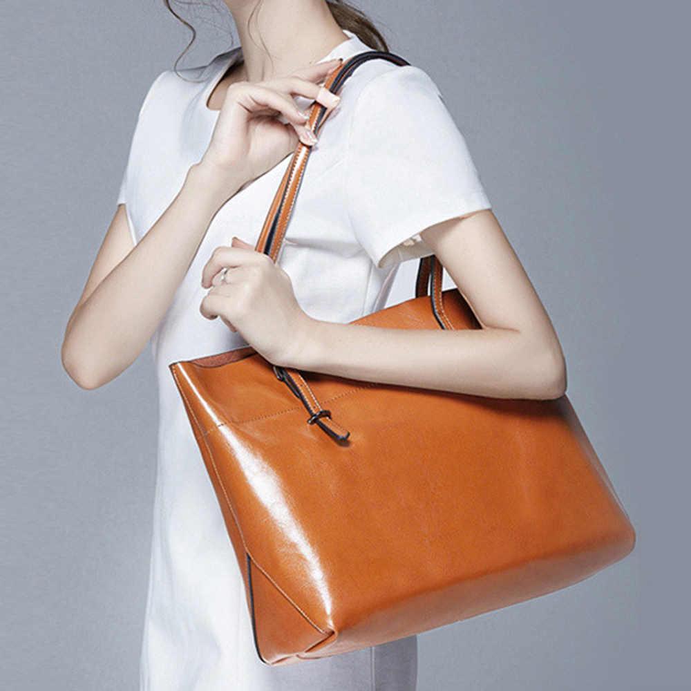 2020 nuevo estilo las mujeres bolso 100% de cuero genuino hombro Bolso Negro Bolso de gran capacidad bolsas de compras