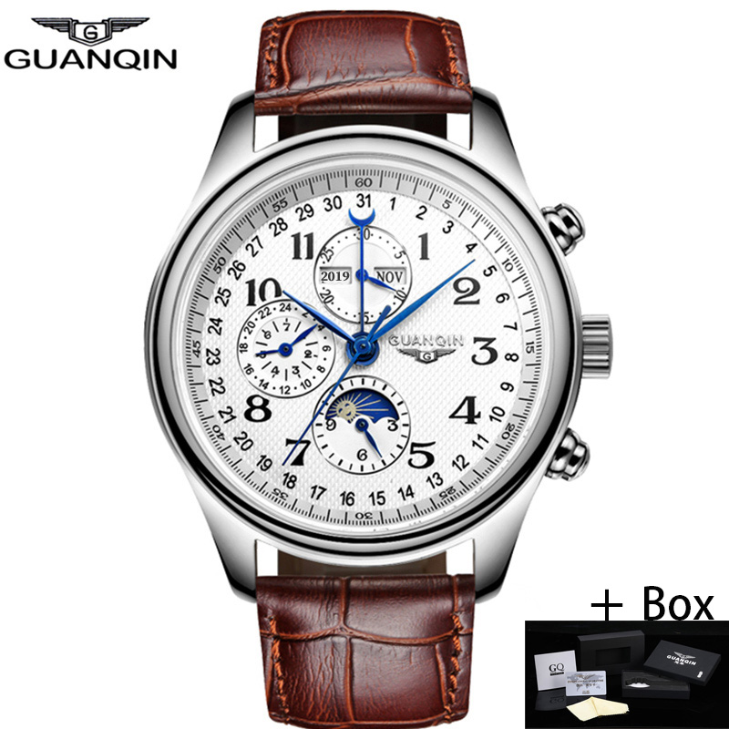 GUANQIN Men Mechanical Sapphire Watches Leather Luxury Top Brand Waterproof Automatic Wristwatch Calendar Moon Relogio Masculino