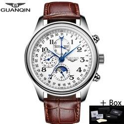 GUANQIN Men Mechanical Sapphire Watches Leather Luxury Top Brand Waterproof Automatic Wristwatch Calendar Moon Relogio Masculino