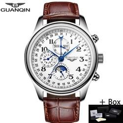 GUANQIN Men Mechanical Watches Leather Luxury Top Brand Waterproof Automatic Wristwatch date Calendar Moon Relogio Masculino