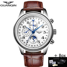 GUANQIN Men Mechanical Watches Leather Luxury Top Brand Wate
