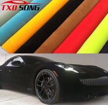 10/20/30/40/50x152cm superior veludo camurça tecido material carro envoltório adesivo filme autoadesivo para interior/exterior automóvel estilo do carro