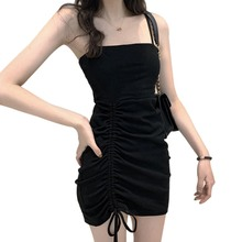 Women Sexy Slash Neck Spaghetti Strap Dress Ruched Drawstring Bodycon Fashion Solid Color Mini Dresses Vestido