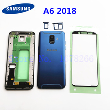 SAMSUNG Galaxy A6 SM A600FN/DS A600 2018 arka pil kapak düğmesi ile arka kapı A6 A600F orta çerçeve tam konut + Sticker