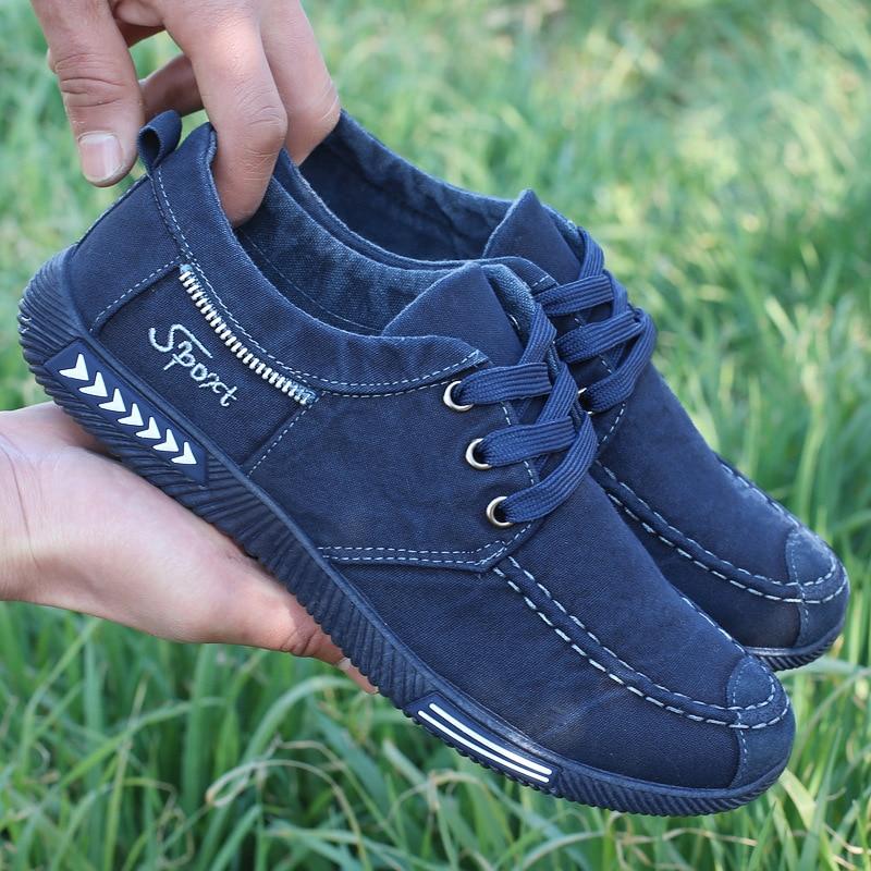 NEW Canvas Men Shoes Denim Lace-Up Men Casual Shoes Plimsolls Breathable Male Footwear Spring Autumn sneakers size 38--46