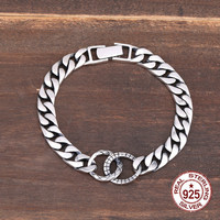 925 sterling silver bracelet couple simple design retro fashion personality styling jewelry to send gifts for lovers 2019 hot