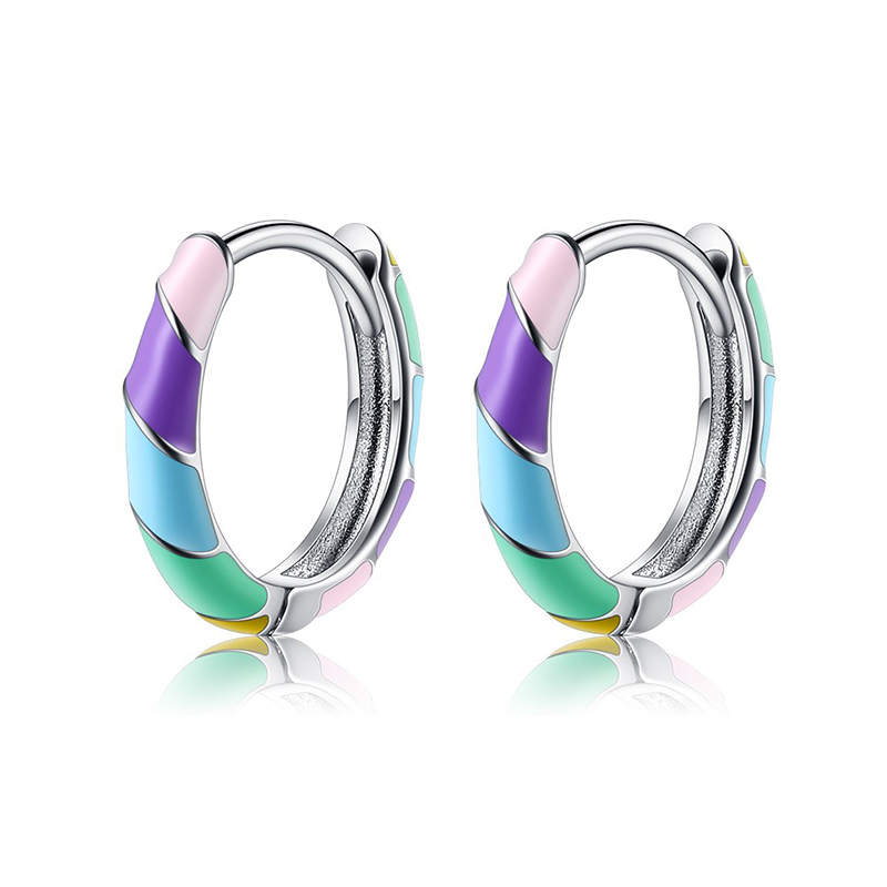 ZHIMO Drop-Shaped Colorful Female Earrings Popular In Europe And America, Pure S925 Silver Fashion Earrings For Dating And Gift