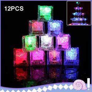 12 шт. светодиодный светильник с кубиками льда, многоцветный светодиодный Жидкий датчик, кубики льда, Светодиодный светящийся светильник дл...