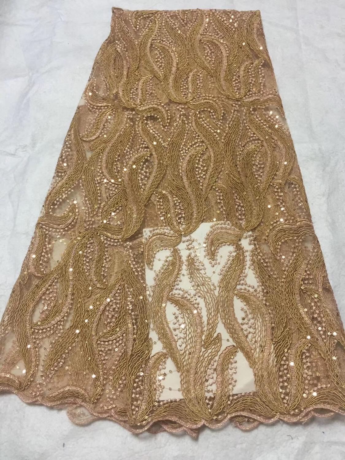Gold African Wedding Lace Fabric High Quality French Lace Fabric With Sequin Embroidery African Lace Fabric For 5yards