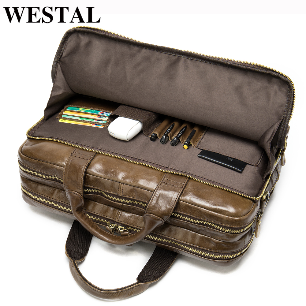 WESTAL Men's Briefcase Bag Men's Genuine Leather Office Bag For Men Business Leather Laptop Bag Men For Document Designer Luxury