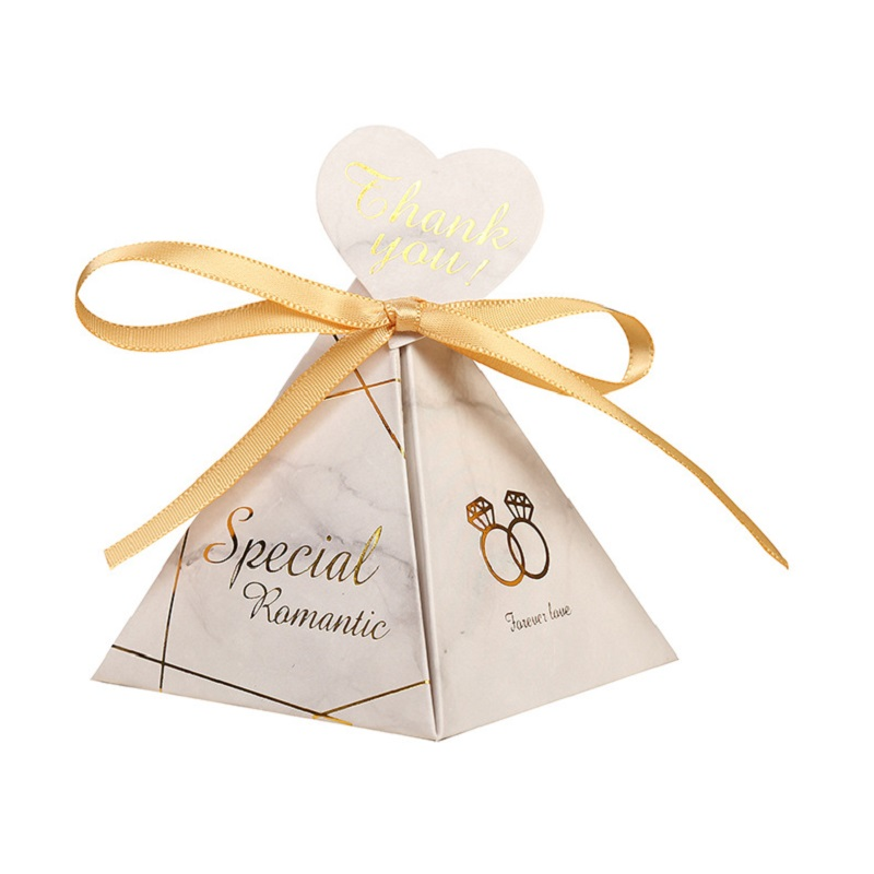 New Marble Triangular Pyramid Candy Box Wedding Favors Gifts Boxes Chocolate Box Baby Shower Guests Favors Event Party Supplies