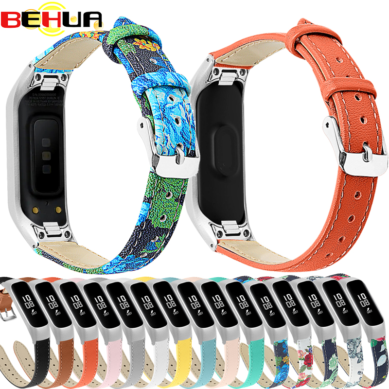 Leather Strap For Samsung Galaxy Fit-e SM-R375 Watch Bands With Frame Case Genuine Leather Wristband Replacement Watch Straps