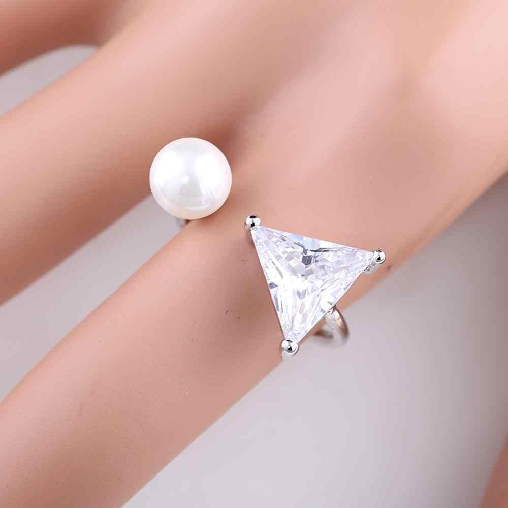 Треугольной формы кубического циркония Регулируемые манжеты кольца для женщин и девочек, крупное колье, жемчуг кольца для свадьбы, помолвки вечерние ювелирные изделия 297