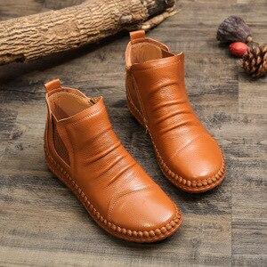 Image 3 - MVVJKE Botas planas de cuero genuino para mujer, zapatos informales Vintage, diseño de marca, Retro, hechos a mano, E006