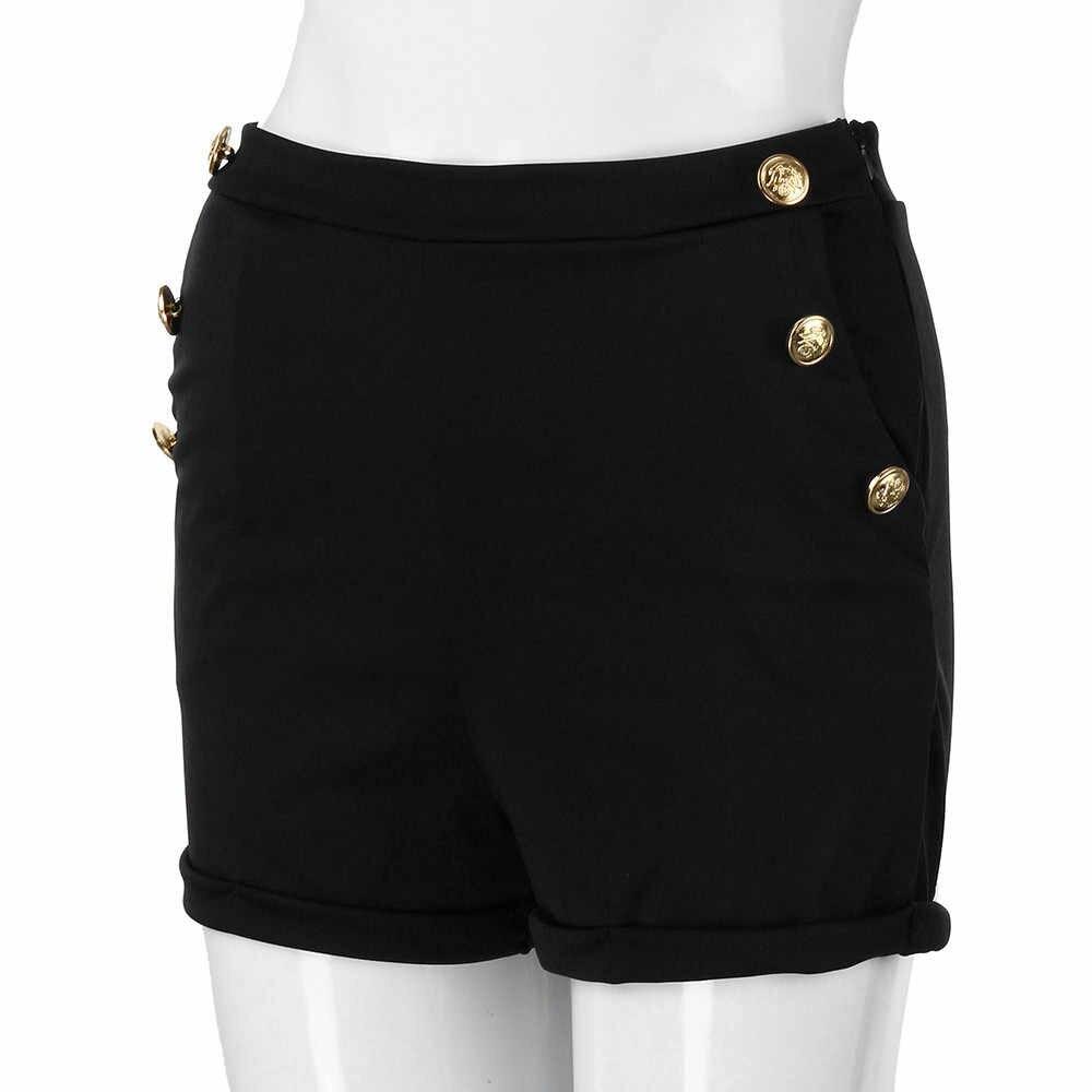 Elegante Bar de talla grande S-5XL pantalones cortos elásticos de poliéster Casual sólido flaco cremallera Fly alta cintura caliente Shorts feminino 2019