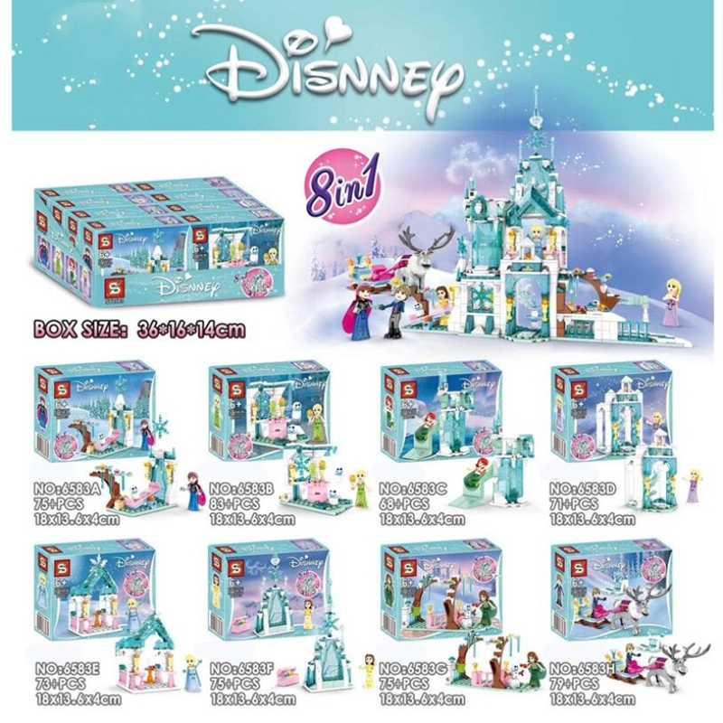 Đông Lạnh 2 Xây Dựng Lâu Đài Khối Tuyết Nữ Hoàng Elsa Anna Lọ Lem Ariel Hình Tương Thích Legoinglys Bạn Gạch Đồ Chơi Mô Hình