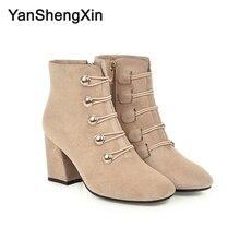 YANSHENGXIN Shoes Woman Boots 5 Button Knight Ankle High Heels Women Autumn Winter Large Size Ladies Booties