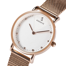 BOBOBIRD Relojes de pulsera para mujer, de oro rosa, de malla, de acero inoxidable, femenino, V T01