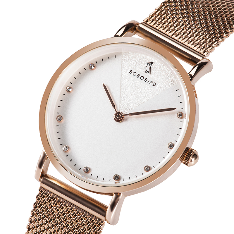 BOBOBIRD Rose Gold Women's Wrist Watches Mesh Stainless Steel Female Clock Ladies Watch Reloj Mujer Support Dropshipping V-T01