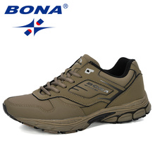 BONA 2019 New Designer Running Shoes Male Cow Split Outdoor Sports Shoes Man Trainers Masculino Shoes Men Jogging Sneakers Comfy