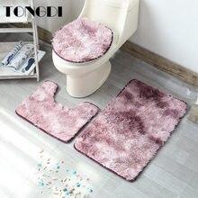 TONGDI dywan łazienkowy zestaw toaletowy dekoracyjny wzór tłoczenie owłosione pluszowe miękkie prysznic chłonne Sop maty antypoślizgowe Decor dla