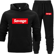 Cool Hoodies Men 2018 Off Black Man Sweatershirt Outwear Coat Letter Male 2 Piece Set Winter Warm