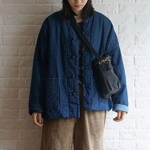 Image 2 - Johnature kış eğlence moda standı yaka plaka toka cepler kalın kot ceket 2020 yeni tüm maç rahat kadın mont