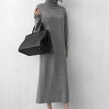 Women Autumn Winter Long Sweater Dresses Female Turtleneck Long Sleeve Straight Knitted Maxi Vestidos