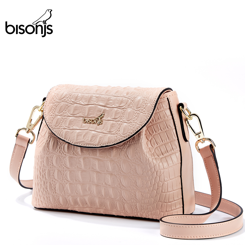 BISONJS Leather Women Bags Travel Female Crossbody Bag Fashion Simple Shoulder Messenger Bags For Party B1902